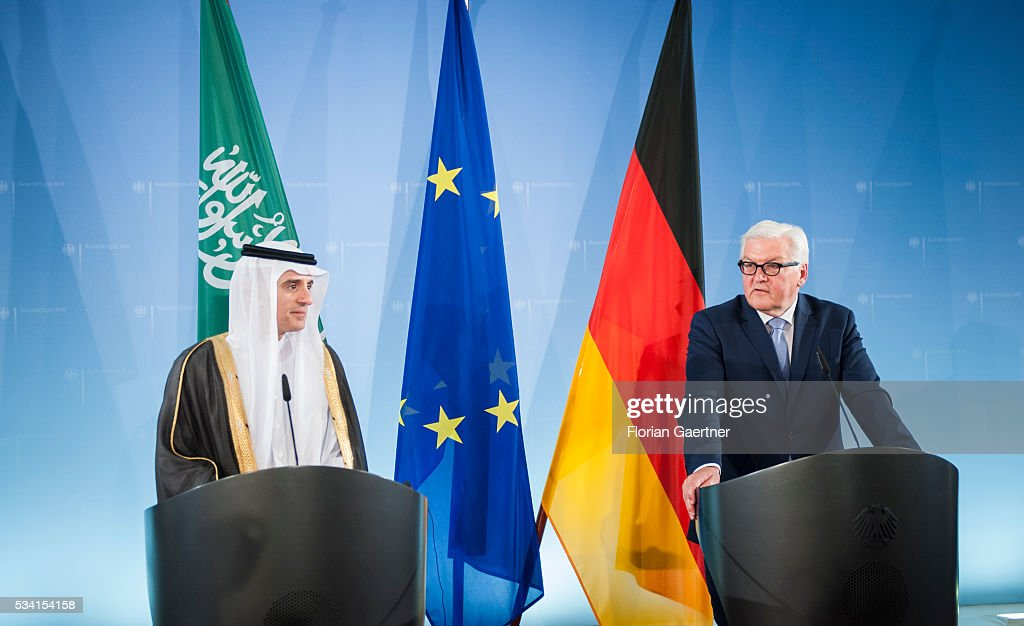 German Foreign Minister Frank-Walter Steinmeier (R) during a press conference with the Foreign Minister of Saudi-Arabia Adel al-Dschubeir (L) on May 25, 2016 in Berlin, Germany. The pair met for political talks.