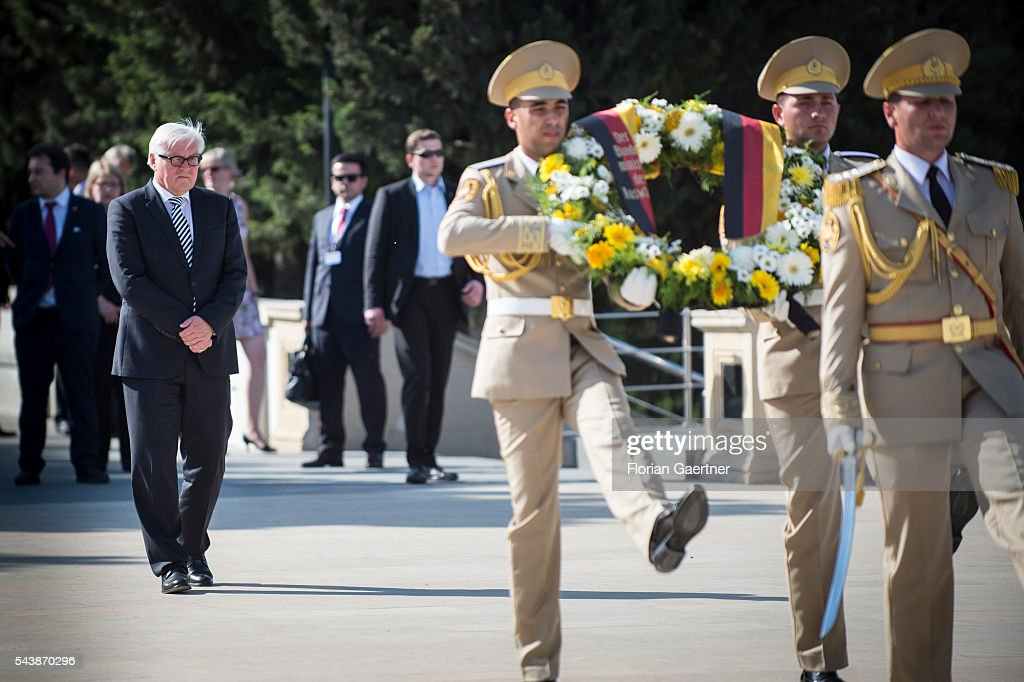 German Foreign Minister <a gi-track='captionPersonalityLinkClicked' href=/galleries/search?phrase=Frank-Walter+Steinmeier&family=editorial&specificpeople=603500 ng-click='$event.stopPropagation()'>Frank-Walter Steinmeier</a> during a wreath laying ceremony at martyrs' lane on June 30, 2016 in Baku, Azerbaijan. He visits the south caucasian countries Armenia, Azerbaijan and Georgia for political conversations.