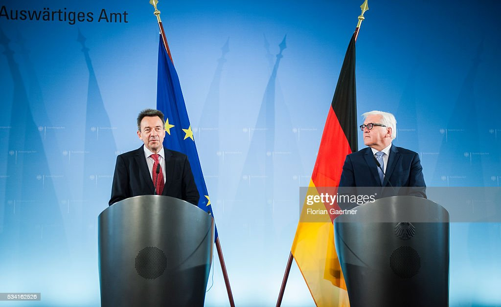 German Foreign Minister Frank-Walter Steinmeier (R) during the meeting with Peter Maurer (L), President of the International Committee of the Red Cross (ICRC), on May 25, 2016 in Berlin, Germany.