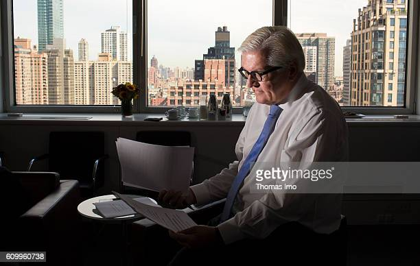 German Foreign Minister FrankWalter Steinmeier edits his speech he will adress later on at the 71th session of the United Nations General Assembly at...