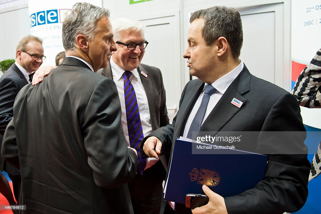 German Foreign Minister Frank-Walter Steinmeier, Foreign Minister of Serbia, Ivica Dacic (R), and Switzerlands Foreign Minister Didier Burkhalter (L) attend a meeting of OSCE Troika during the Organization for Security and Cooperation in Europe (OSCE) 22nd Ministers Council Meeting on December 03, 2015 in Belgrade, Serbia.