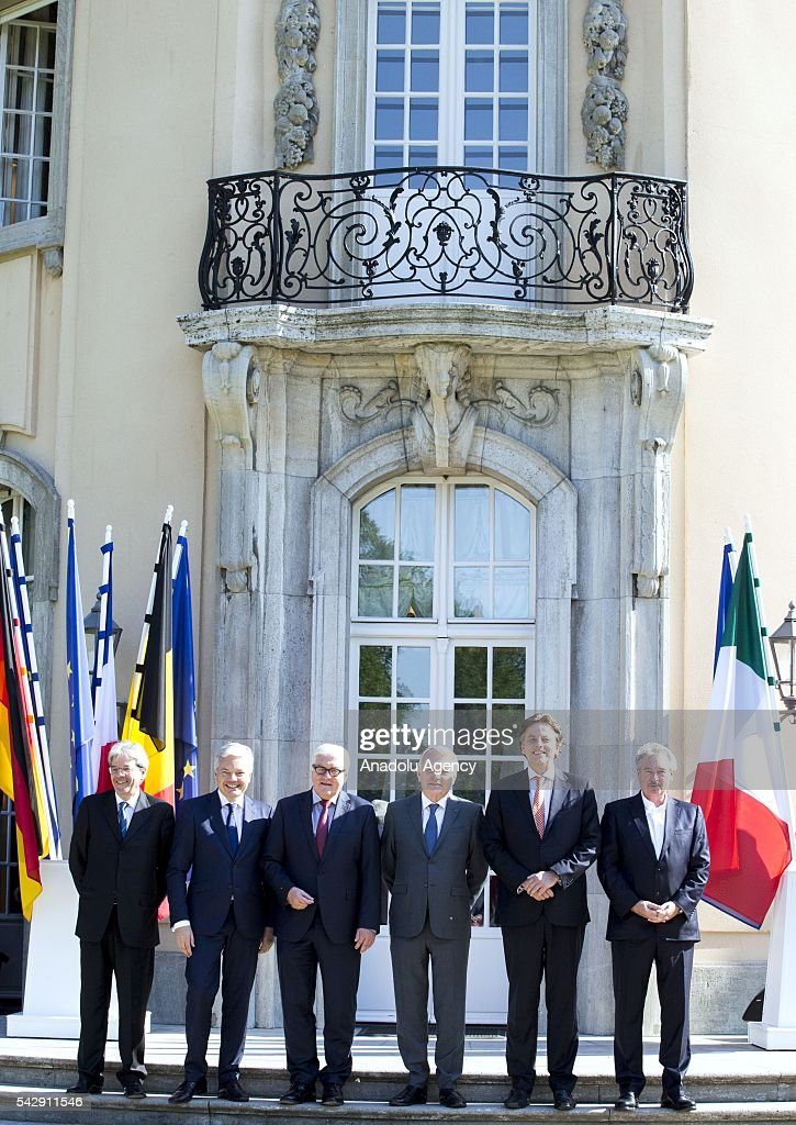 German Foreign Minister Frank-Walter Steinmeier (L-3), French Foreign Minister Jean-Marc Ayrault (R-3), Dutch Foreign Minister Bert Koenders (R-2), Italian Foreign Minister Paolo Gentiloni (L), Belgian Foreign Minister Didier Reynders (L-2) and Luxembourgs Foreign Minister Jean Asselborn (R) pose for a photograph before their meeting to discuss United Kingdom's decision on leaving European Union (EU), at German foreign ministry's guest house Villa Borsig in Berlin, Germany on June 25, 2016.