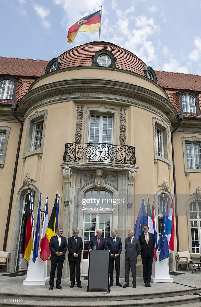 German Foreign Minister Frank-Walter Steinmeier (3rd L), French Foreign Minister Jean-Marc Ayrault (2nd R), Dutch Foreign Minister Bert Koenders (R), Italian Foreign Minister Paolo Gentiloni (2nd L), Belgian Foreign Minister Didier Reynders (3rd R) and Luxembourgs Foreign Minister Jean Asselborn (L) attend a press conference after their meeting to discuss United Kingdom's decision on leaving European Union (EU), at German foreign ministry's guest house Villa Borsig in Berlin, Germany on June 25, 2016.