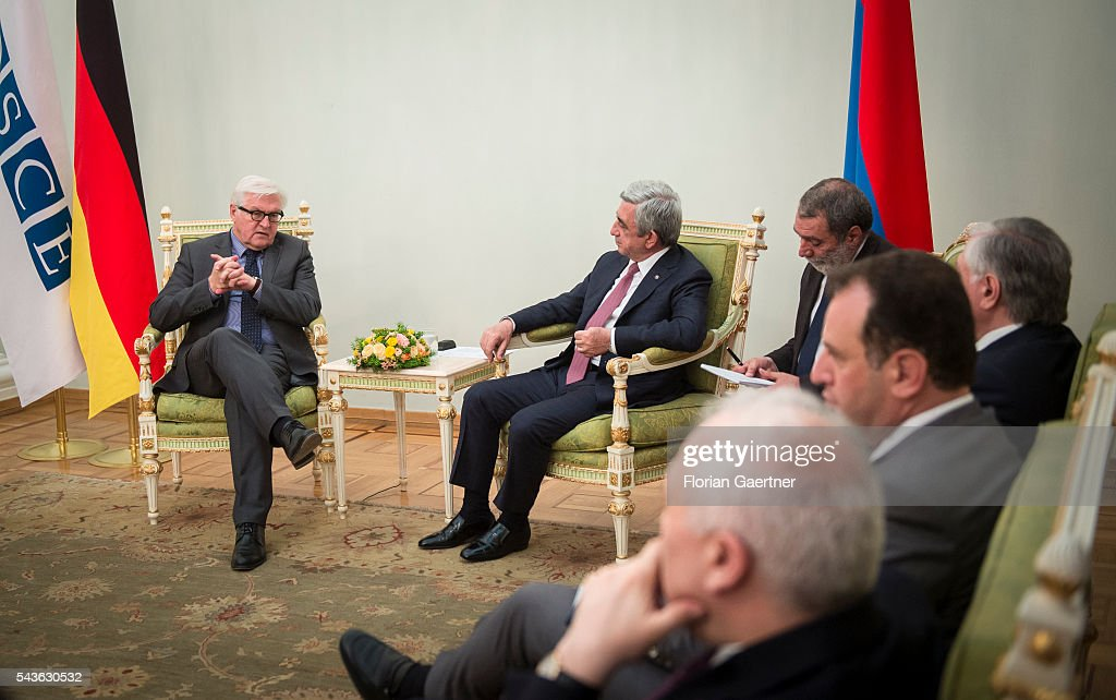 German Foreign Minister Frank-Walter Steinmeier (L) gets together with Serzh Sargsyan (R), President of Armenia, on June 29, 2016 in Yerewan, Armenia. He visits the south caucasian countries Armenia, Azerbaijan and Georgia for political conversations.