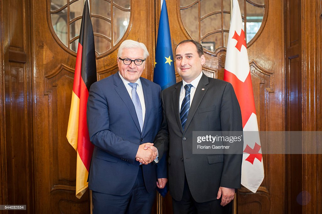 German Foreign Minister Frank-Walter Steinmeier (L) gets together with Dimitri Kumsischwili (R), Debuty Prime Minister of Georgia, on July 01, 2016 in Tbilisi, Georgia. Walter Steinmeier visits the south caucasian countries Armenia, Azerbaijan and Georgia for political conversations.