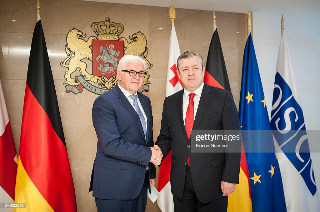 German Foreign Minister Frank-Walter Steinmeier (L) gets together with Giorgi Kwirikaschwili (R), Prime Minister of Georgia, on July 01, 2016 in Tbilisi, Georgia. Walter Steinmeier visits the south caucasian countries Armenia, Azerbaijan and Georgia for political conversations.