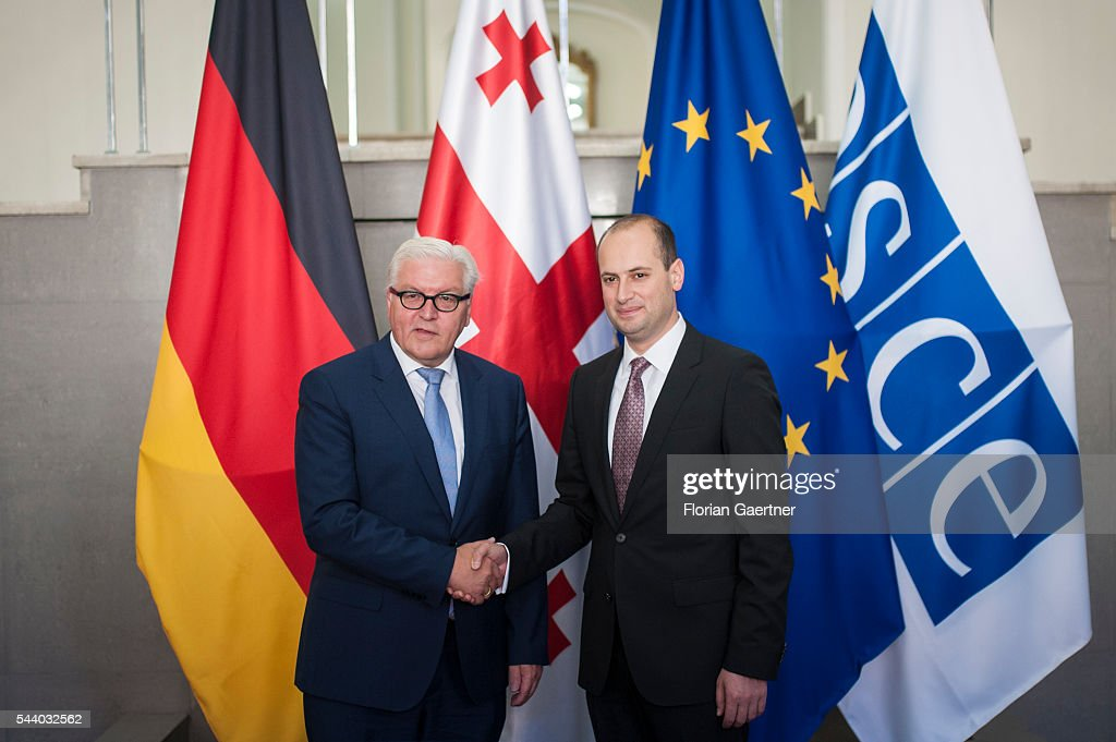 German Foreign Minister Frank-Walter Steinmeier (L) gets together with Michail Janelidze (R), Foreign Minister of Georgia, on July 01, 2016 in Tbilisi, Georgia. Walter Steinmeier visits the south caucasian countries Armenia, Azerbaijan and Georgia for political conversations.