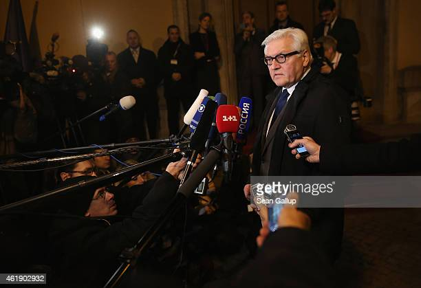 German Foreign Minister FrankWalter Steinmeier gives statements to the media prior to meeting with Russian Foreign Minister Sergey Lavrov Ukrainian...