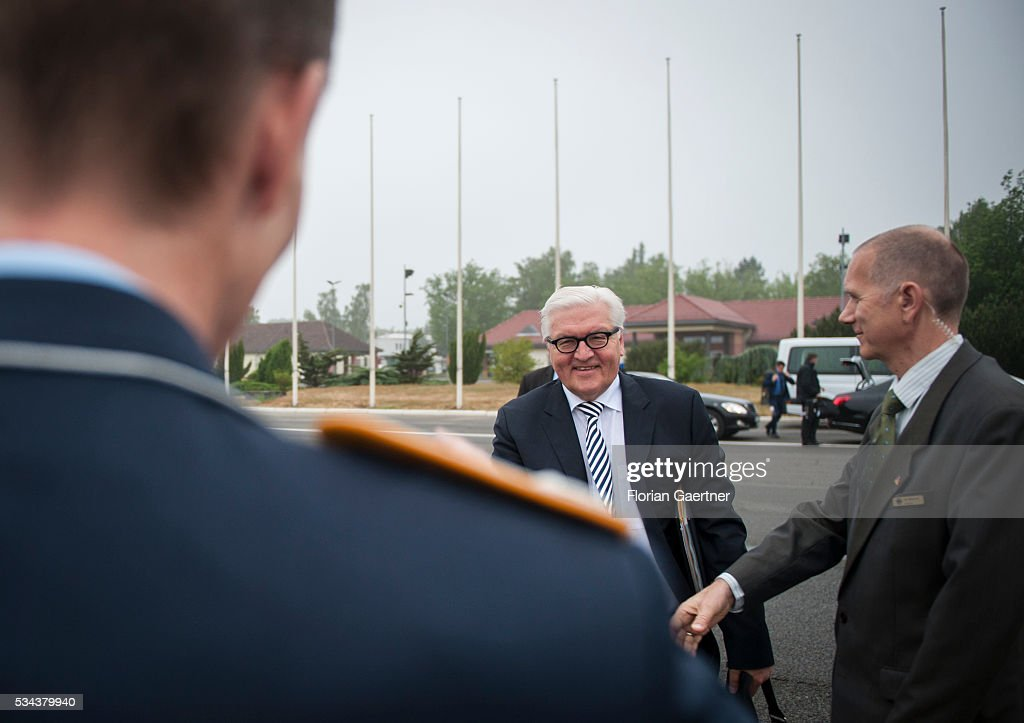 German Foreign Minister <a gi-track='captionPersonalityLinkClicked' href=/galleries/search?phrase=Frank-Walter+Steinmeier&family=editorial&specificpeople=603500 ng-click='$event.stopPropagation()'>Frank-Walter Steinmeier</a> goes to the government plane on May 26, 2016 in Berlin, Germany. Steinmeier visits Lithuania, Latvia and Estonia for political conversations.