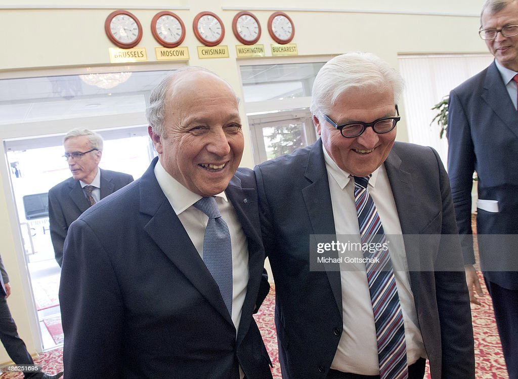 German Foreign Minister <a gi-track='captionPersonalityLinkClicked' href=/galleries/search?phrase=Frank-Walter+Steinmeier&family=editorial&specificpeople=603500 ng-click='$event.stopPropagation()'>Frank-Walter Steinmeier</a> (R) greets French Foreign Minister <a gi-track='captionPersonalityLinkClicked' href=/galleries/search?phrase=Laurent+Fabius&family=editorial&specificpeople=540660 ng-click='$event.stopPropagation()'>Laurent Fabius</a> on April 23, 2014 in Chisinau, Moldova. German foreign minister <a gi-track='captionPersonalityLinkClicked' href=/galleries/search?phrase=Frank-Walter+Steinmeier&family=editorial&specificpeople=603500 ng-click='$event.stopPropagation()'>Frank-Walter Steinmeier</a> and his French counterpart <a gi-track='captionPersonalityLinkClicked' href=/galleries/search?phrase=Laurent+Fabius&family=editorial&specificpeople=540660 ng-click='$event.stopPropagation()'>Laurent Fabius</a> are traveling to Moldova and Georgia, former Soviet Republics, as well as Tunisia and France to strengthen the relationships between the countries as tensions continue to rise over Russia's intentions in Ukraine.