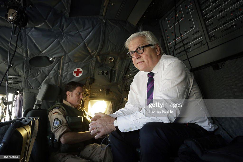 German Foreign Minister FrankWalter Steinmeier in an airplane of the German airforce on September 06 2014 on his way to Kabul Afghanistan Steinmeier...