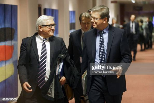 German Foreign Minister FrankWalter Steinmeier is pictured during a meeting with European Commissioner for Enlargement and European Neighbourhood...