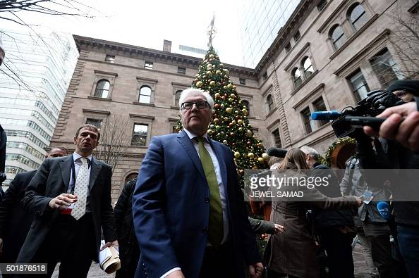 German Foreign Minister FrankWalter Steinmeier leaves a hotel following talks with other ministers and delegates on Syria in New York on December 18...