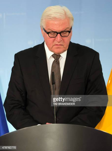 German Foreign Minister FrankWalter Steinmeier looks down as he addresses a press conference in Berlin on June 27 a day after a terrorist attack...