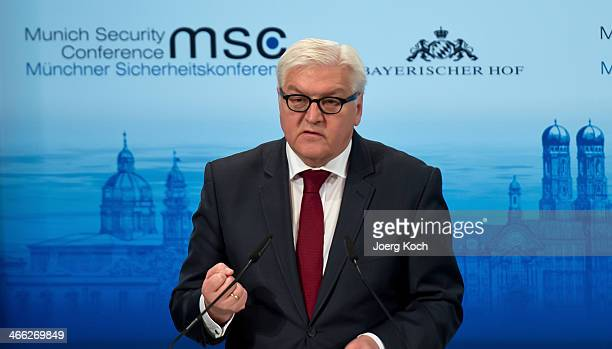 German Foreign Minister FrankWalter Steinmeier makes an opening statement on day two of the 50th Munich Security Conference at the Bayerischer Hof...
