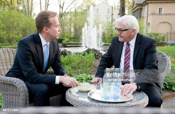 German Foreign Minister FrankWalter Steinmeier meets Borge Brende Foreign Minister of Norway during his visit to Norway on April 23 2014 in Oslo...