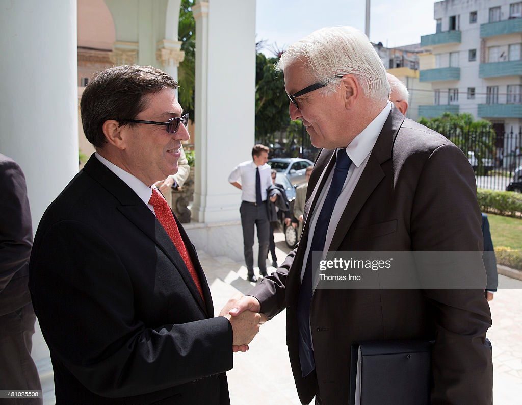 German Foreign Minister <a gi-track='captionPersonalityLinkClicked' href=/galleries/search?phrase=Frank-Walter+Steinmeier&family=editorial&specificpeople=603500 ng-click='$event.stopPropagation()'>Frank-Walter Steinmeier</a> (R) meets Cubas Foreign Minister Bruno Rodriguez Parrilla on July 16, 2015 in Havana, Cuba.