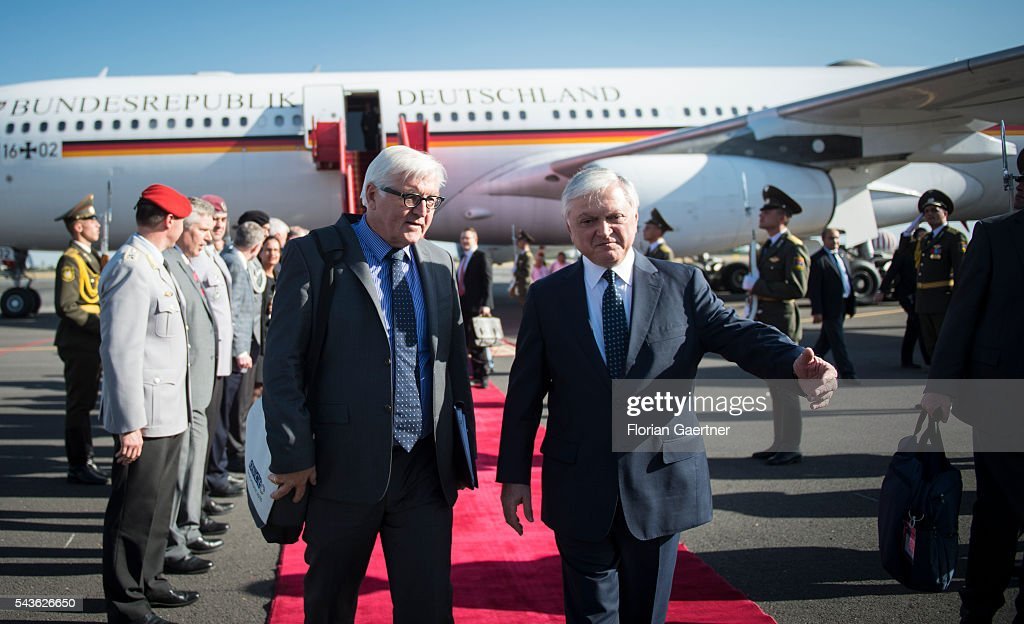 German Foreign Minister <a gi-track='captionPersonalityLinkClicked' href=/galleries/search?phrase=Frank-Walter+Steinmeier&family=editorial&specificpeople=603500 ng-click='$event.stopPropagation()'>Frank-Walter Steinmeier</a> (L) meets Edward Nalbandian (R), Foreign Minister of Armenia, as he arrives on June 29, 2016 in Yerewan, Armenia. Steinmeier is on a three-day visit to the South Caucasus countries Armenia, Azerbaijan and Georgia.