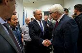 German Foreign Minister FrankWalter Steinmeier meets Israeli Prime Minister Benjamin Netanyahu at the Israeli Ministry of Defense on July 15 2014 in...