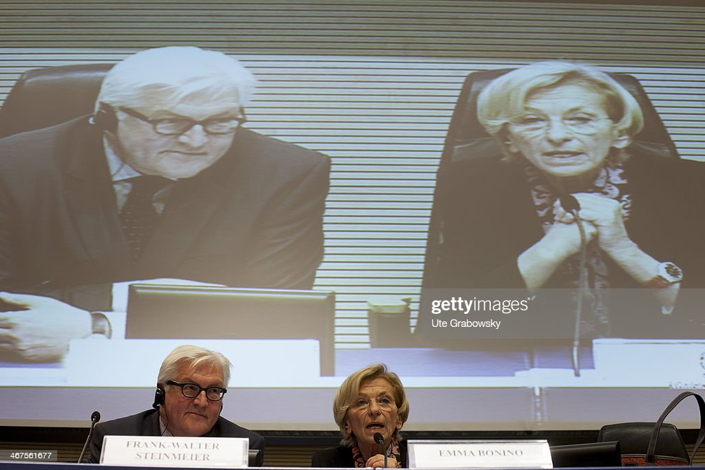 German Foreign Minister <a gi-track='captionPersonalityLinkClicked' href=/galleries/search?phrase=Frank-Walter+Steinmeier&family=editorial&specificpeople=603500 ng-click='$event.stopPropagation()'>Frank-Walter Steinmeier</a> (L) meets Italian politician <a gi-track='captionPersonalityLinkClicked' href=/galleries/search?phrase=Emma+Bonino&family=editorial&specificpeople=539913 ng-click='$event.stopPropagation()'>Emma Bonino</a> on February 07, 2014 in Rome, Italy. Steinmeier is on a one-day trip to Rome and met Italy's President Giorgio Napoletano.
