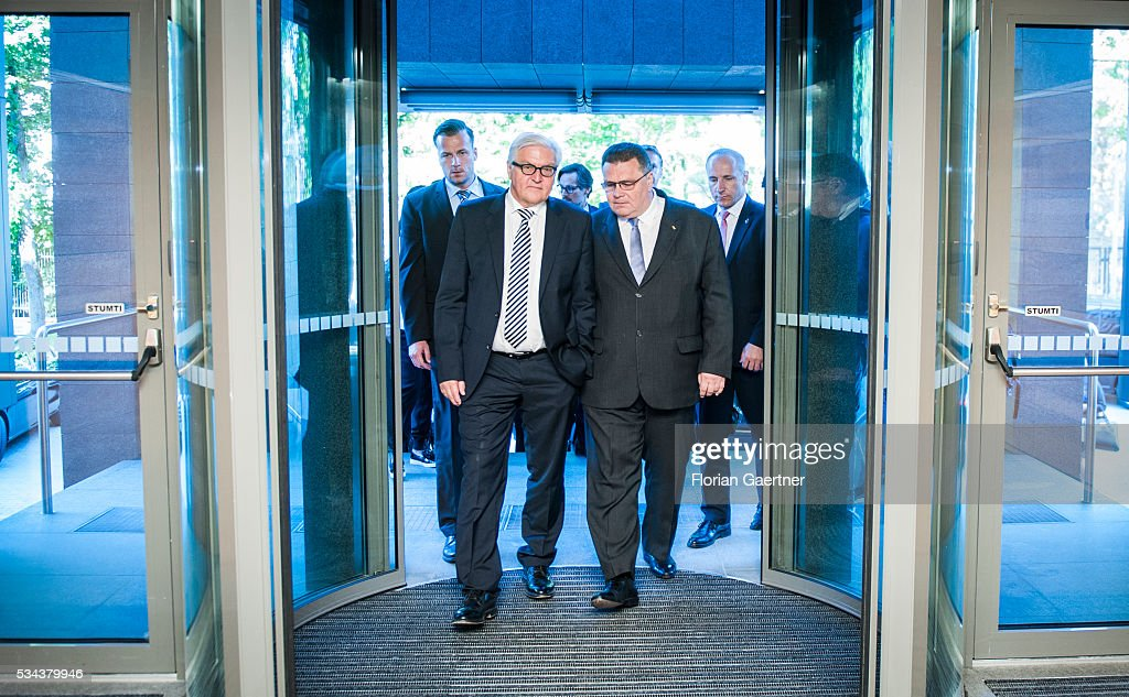 German Foreign Minister Frank-Walter Steinmeier (L) meets Linas Antanas Linkevicius (R), Foreign Minister of Lithuania, on May 26, 2016 in Vilnius, Lithuania. Steinmeier travels to Lithuania, Latvia and Estonia for political conversations.
