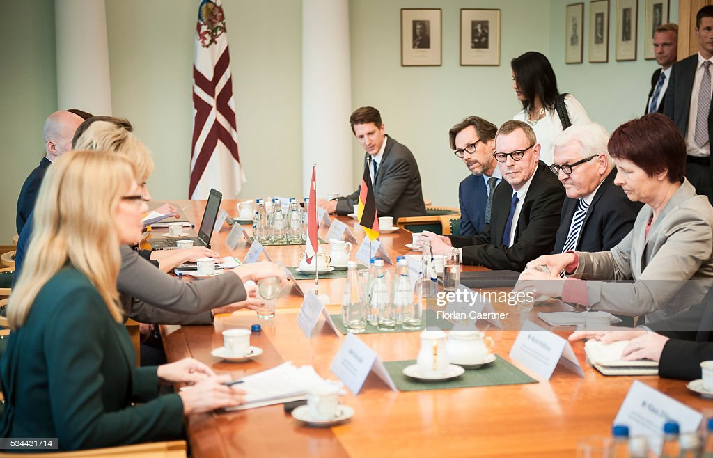 German Foreign Minister Frank-Walter Steinmeier meets Maris Kucinskis, Prime Minister of Latvia, on May 26, 2016 in Riga, Latvia. Steinmeier travels to Lithuania, Latvia and Estonia for political conversations.