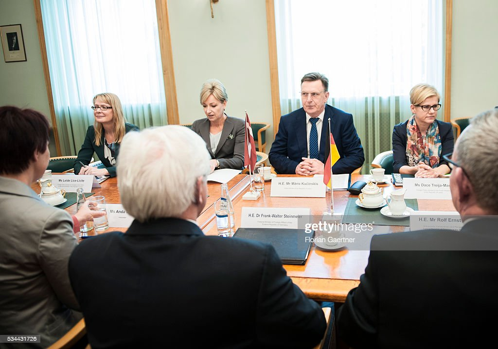 German Foreign Minister Frank-Walter Steinmeier (third from left) meets Maris Kucinskis (thrid from right), Prime Minister of Latvia, on May 26, 2016 in Riga, Latvia. Steinmeier travels to Lithuania, Latvia and Estonia for political conversations.