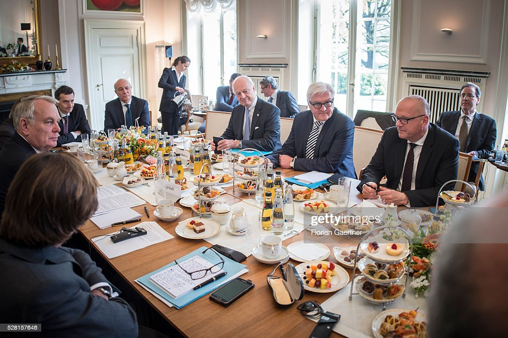 German Foreign Minister Frank-Walter Steinmeier (second from right) meets Staffan de Mistura (thrid from right), United Nations special envoy for the Syria crisis, and Jean-Marc Ayrault (second from left), Minister for Foreign Affairs of France, as a part of the meeting with the Syrian representative of the opposition Riad Hijab (not pictured) on May 04, 2016 in Berlin, Germany. Theymet for conversations about the civil war in Syria.