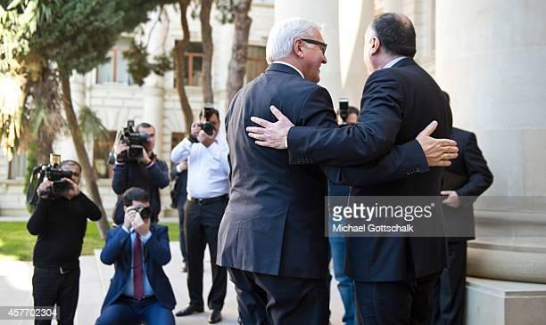 German Foreign Minister FrankWalter Steinmeier meets the foreign minister of Azerbaijan Elmar Mammadyarov on October 23 2014 in Baku Azerbaijan