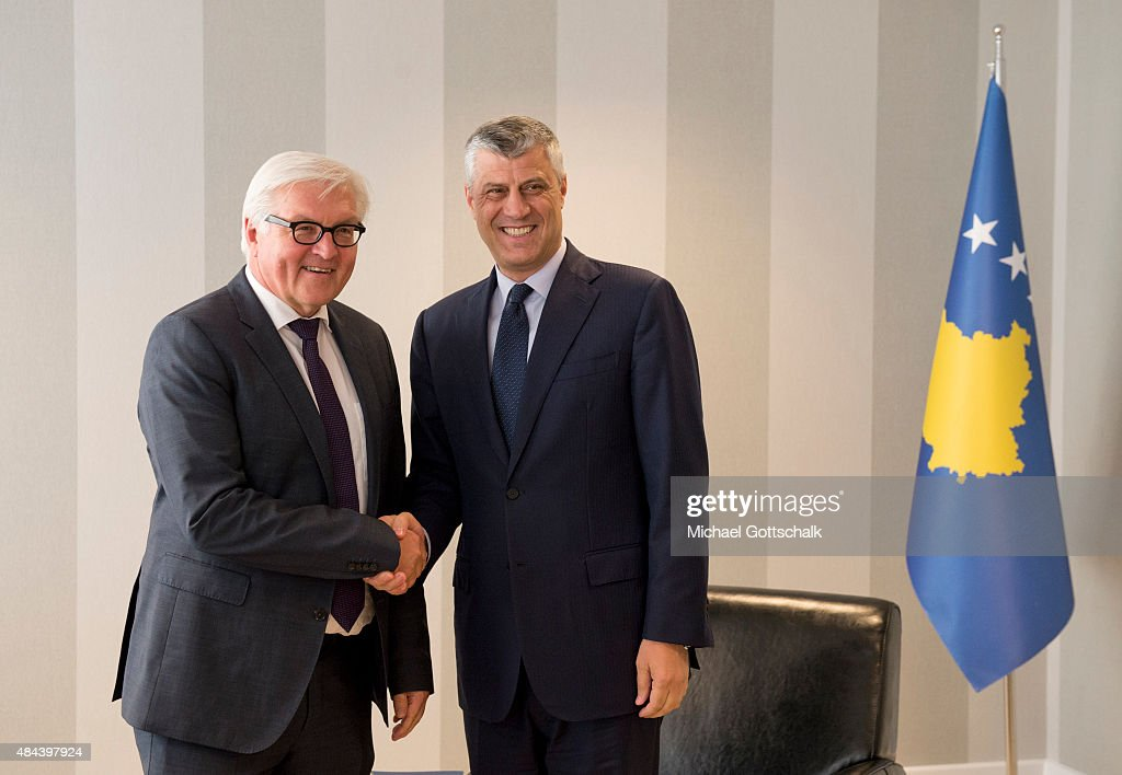 German Foreign Minister <a gi-track='captionPersonalityLinkClicked' href=/galleries/search?phrase=Frank-Walter+Steinmeier&family=editorial&specificpeople=603500 ng-click='$event.stopPropagation()'>Frank-Walter Steinmeier</a> (L), meets the Foreign Minister of Kosovo, <a gi-track='captionPersonalityLinkClicked' href=/galleries/search?phrase=Hashim+Thaci&family=editorial&specificpeople=781147 ng-click='$event.stopPropagation()'>Hashim Thaci</a>, on April 28, 2015 in Pristina, Kosovo.