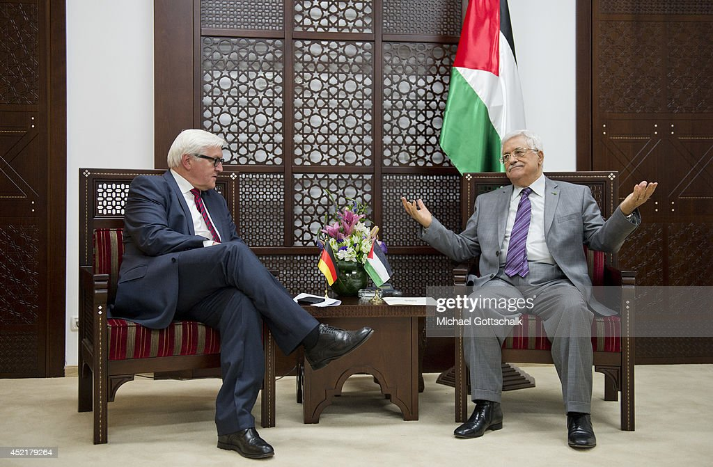 German Foreign Minister Frank-Walter Steinmeier (L) meets the president of the palestinian authorities, Mahmoud Abbas, on July 15, 2014 in Ramallah, Palestinian Terretories. Steinmeier travels to Jordan, Israel and Palestinian Territories to discuss the current situation in Israel and Gaza.