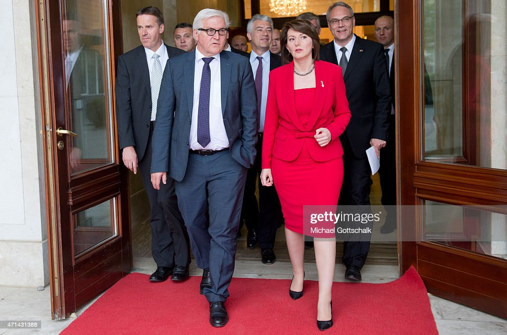 German Foreign Minister <a gi-track='captionPersonalityLinkClicked' href=/galleries/search?phrase=Frank-Walter+Steinmeier&family=editorial&specificpeople=603500 ng-click='$event.stopPropagation()'>Frank-Walter Steinmeier</a>, meets the President of Kosovo, <a gi-track='captionPersonalityLinkClicked' href=/galleries/search?phrase=Atifete+Jahjaga&family=editorial&specificpeople=7799061 ng-click='$event.stopPropagation()'>Atifete Jahjaga</a>, on April 28, 2015 in Pristina, Kosovo. The German Foreign Minister visited Prostina after a meeting with the Serbian government in Belgrade, with the aim of normalising relations between the two countries.