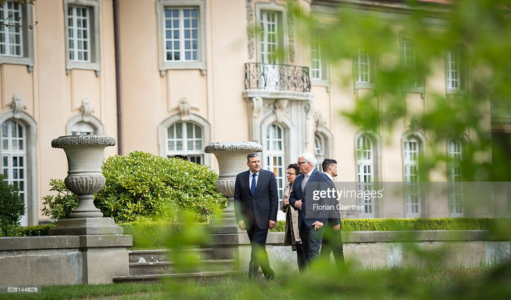 German Foreign Minister Frank-Walter Steinmeier (R) meets the syrian representative of the opposition Riad Hijab (L) on May 04, 2016 in Berlin, Germany. They get together for conversations about the civil war in Syria.