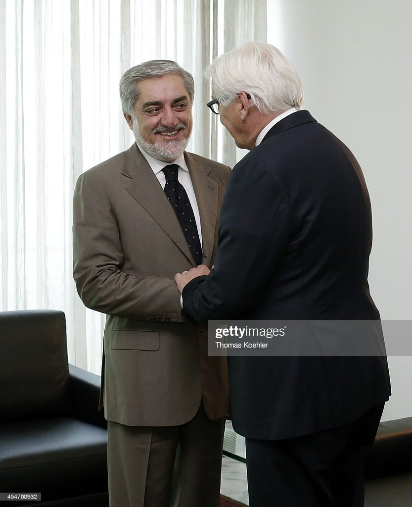 German Foreign Minister <a gi-track='captionPersonalityLinkClicked' href=/galleries/search?phrase=Frank-Walter+Steinmeier&family=editorial&specificpeople=603500 ng-click='$event.stopPropagation()'>Frank-Walter Steinmeier</a> (R) meets with <a gi-track='captionPersonalityLinkClicked' href=/galleries/search?phrase=Abdullah+Abdullah&family=editorial&specificpeople=695346 ng-click='$event.stopPropagation()'>Abdullah Abdullah</a> candiate of presidential election 2014, on September 06, 2014 in Kabul, Afghanistan. Steinmeier will also meet with presidential candidates and later on he will travel to India.