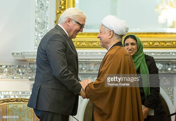 German Foreign Minister FrankWalter Steinmeier meets with Akbar Hashemi Rafsanjani chairman of the Expediency Discernment Council on October 18 2015...