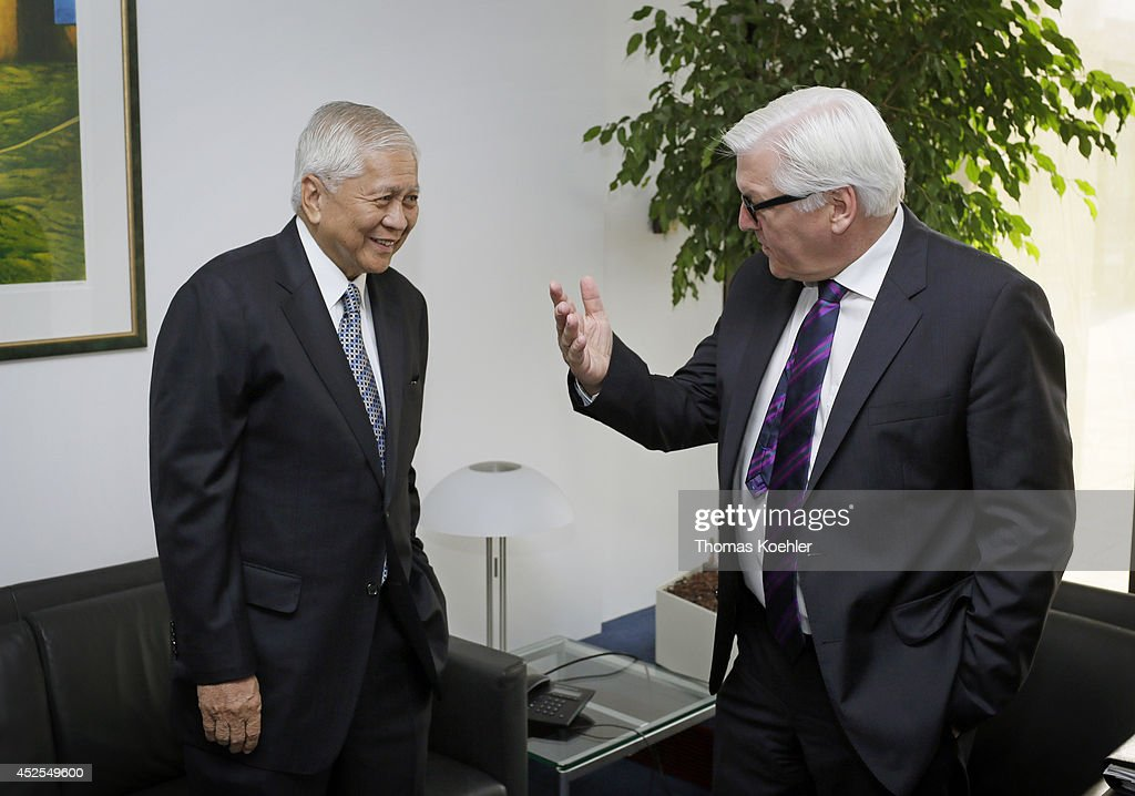 German Foreign Minister <a gi-track='captionPersonalityLinkClicked' href=/galleries/search?phrase=Frank-Walter+Steinmeier&family=editorial&specificpeople=603500 ng-click='$event.stopPropagation()'>Frank-Walter Steinmeier</a> (R) meets with <a gi-track='captionPersonalityLinkClicked' href=/galleries/search?phrase=Albert+del+Rosario&family=editorial&specificpeople=2704318 ng-click='$event.stopPropagation()'>Albert del Rosario</a>, Secretary of Foreign Affairs of the Philippines, on July 23, 2014 in Brussels, Belgium. Steinmeier will also join a meeting of EU-ASEAN Foreign Ministers.