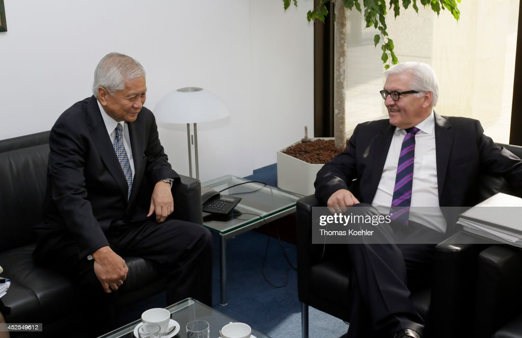 German Foreign Minister Frank-Walter Steinmeier (R) meets with Albert del Rosario, Secretary of Foreign Affairs of the Philippines, on July 23, 2014 in Brussels, Belgium. Steinmeier will also join a meeting of EU-ASEAN Foreign Ministers.