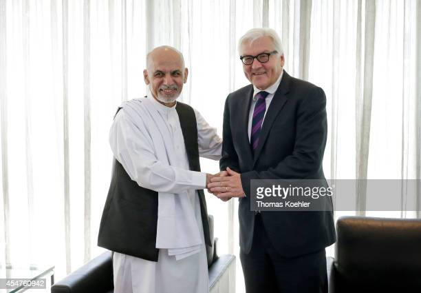 German Foreign Minister FrankWalter Steinmeier meets with Ashar Ghani candiate of presidential election 2014 on September 06 2014 in Kabul...