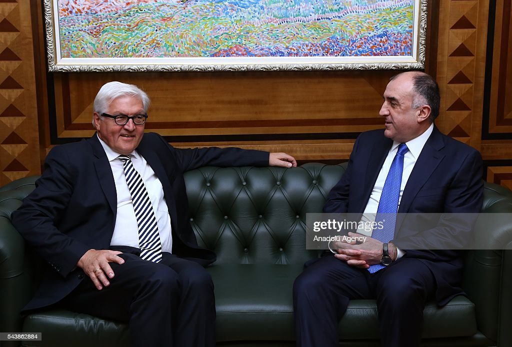 German Foreign Minister Frank-Walter Steinmeier (L) meets with Azerbaijan's Foreign Minister Elmar Memmedyarov (R) in Baku, Azerbaijan on June 30, 2016.