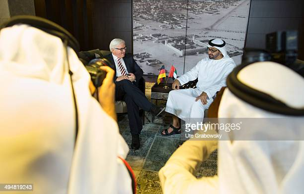 German Foreign Minister FrankWalter Steinmeier meets with Crown Prince of Abu Dhabi Mohamed bin Zayed Al Nahyan on May 2014 in Abu Dhabi United Arab...
