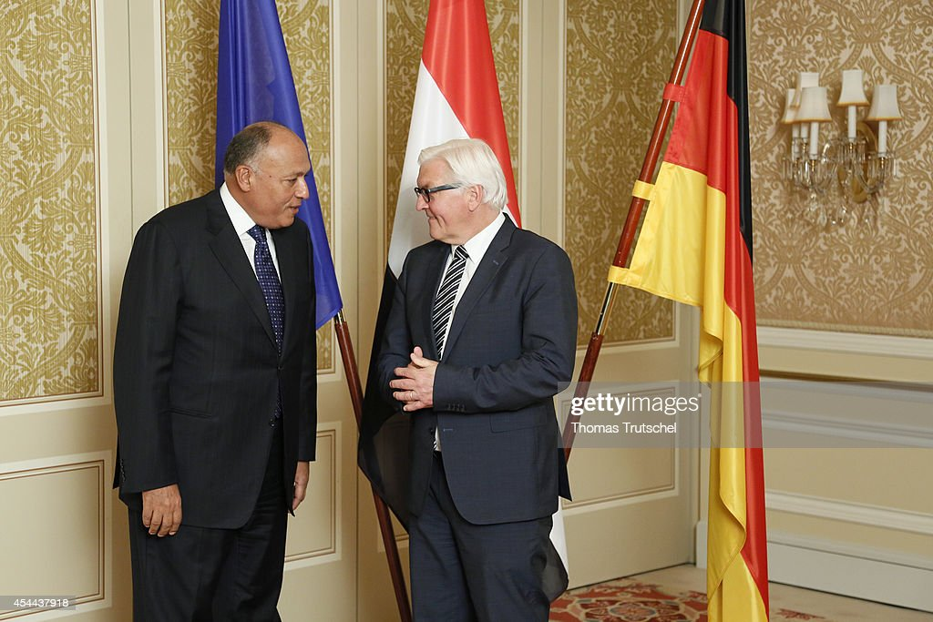 German Foreign Minister Frank-Walter Steinmeier (R) meets with Egypt's Foreign Minister Sameh Hassan Shoukry at Regent Hotel on August 31, 2014 in Berlin, Germany. Steinmeier and Shoukry talk about the relations between Germany and Egypt.