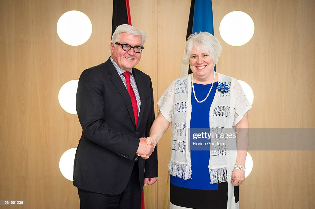 German Foreign Minister <a gi-track='captionPersonalityLinkClicked' href=/galleries/search?phrase=Frank-Walter+Steinmeier&family=editorial&specificpeople=603500 ng-click='$event.stopPropagation()'>Frank-Walter Steinmeier</a> (L) meets with Estonian Minister of Foreign Affairs Marina Kaljurand on May 27, 2016 in Tallinn, Estonia. Steinmeier traveled to Lithuania, Latvia and Estonia for political conversations.