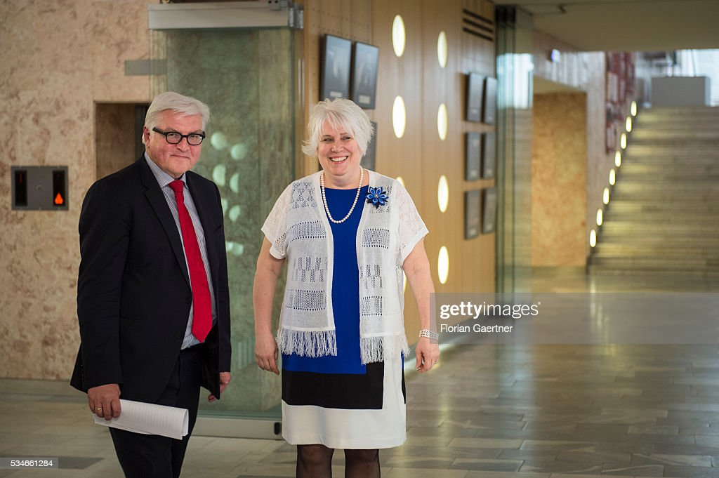 German Foreign Minister Frank-Walter Steinmeier (L) meets with Estonian Minister of Foreign Affairs Marina Kaljurand on May 27, 2016 in Tallinn, Estonia. Steinmeier traveled to Lithuania, Latvia and Estonia for political conversations.