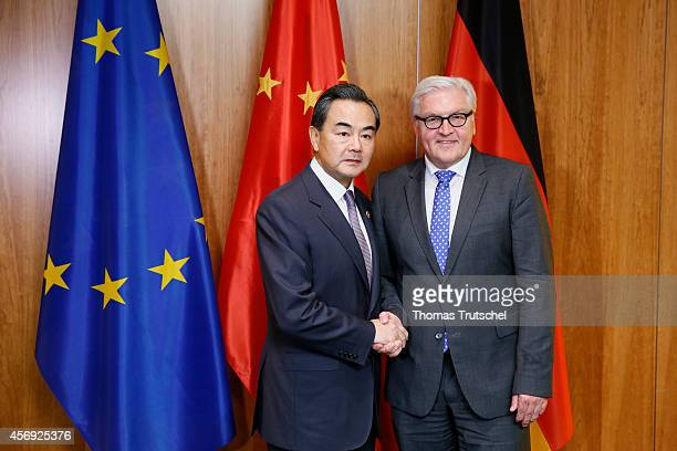 German Foreign Minister FrankWalter Steinmeier meets with Foreign Minister of China Wang Yi on October 09 2014 in Berlin Germany German Foreign...