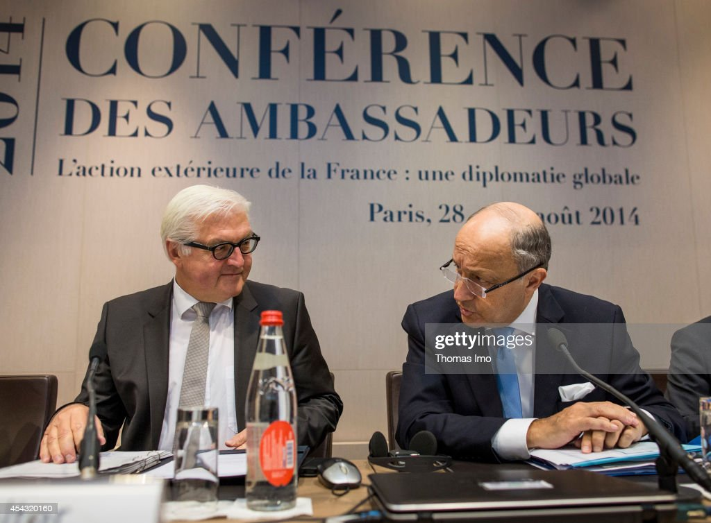 German Foreign Minister Frank-Walter Steinmeier (L) meets with French Foreign Minister Laurent Fabius on August 29, 2014 in Paris, France. German Foreign Minister Frank-Walter Steinmeier has been invited to attend the French ambassadors conference in Paris .