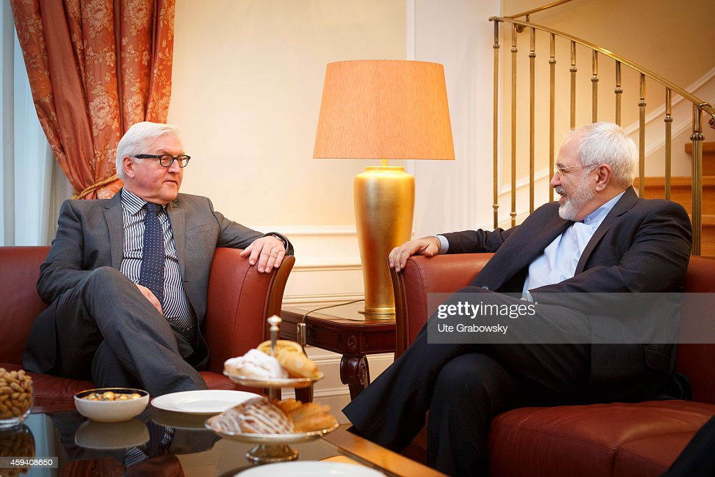 German Foreign Minister Frank-Walter Steinmeier (L) meets with Iranian Foreign Minister Mohammad Javad Zarif on November 22, 2014 in Vienna, Austria. Negotiatiors with U.S., Britain, China, France, Germany and Russia are meeting with Iran to finalize an interim deal over Iran's nuclear program.