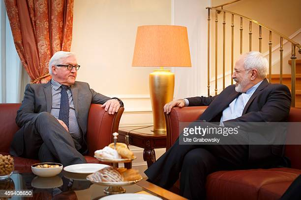 German Foreign Minister FrankWalter Steinmeier meets with Iranian Foreign Minister Mohammad Javad Zarif on November 22 2014 in Vienna Austria...
