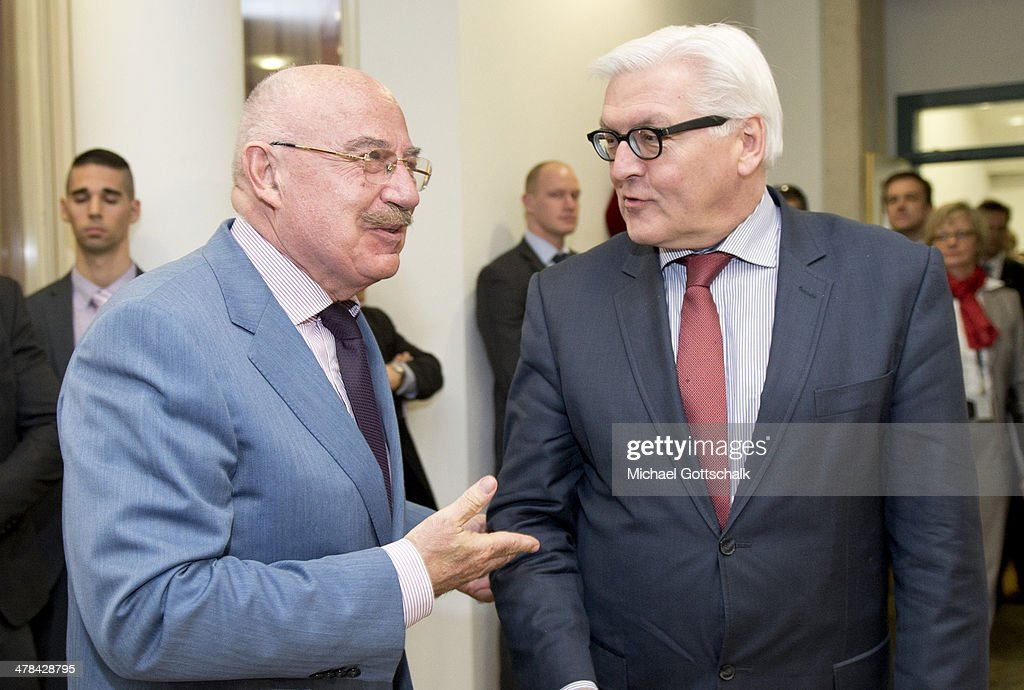 German Foreign Minister <a gi-track='captionPersonalityLinkClicked' href=/galleries/search?phrase=Frank-Walter+Steinmeier&family=editorial&specificpeople=603500 ng-click='$event.stopPropagation()'>Frank-Walter Steinmeier</a> meets with <a gi-track='captionPersonalityLinkClicked' href=/galleries/search?phrase=Janos+Martonyi&family=editorial&specificpeople=2589439 ng-click='$event.stopPropagation()'>Janos Martonyi</a>, hungarian foreign minister at the VISGARD Group meeting, on March 13, 2013 in Budapest, Hungary.