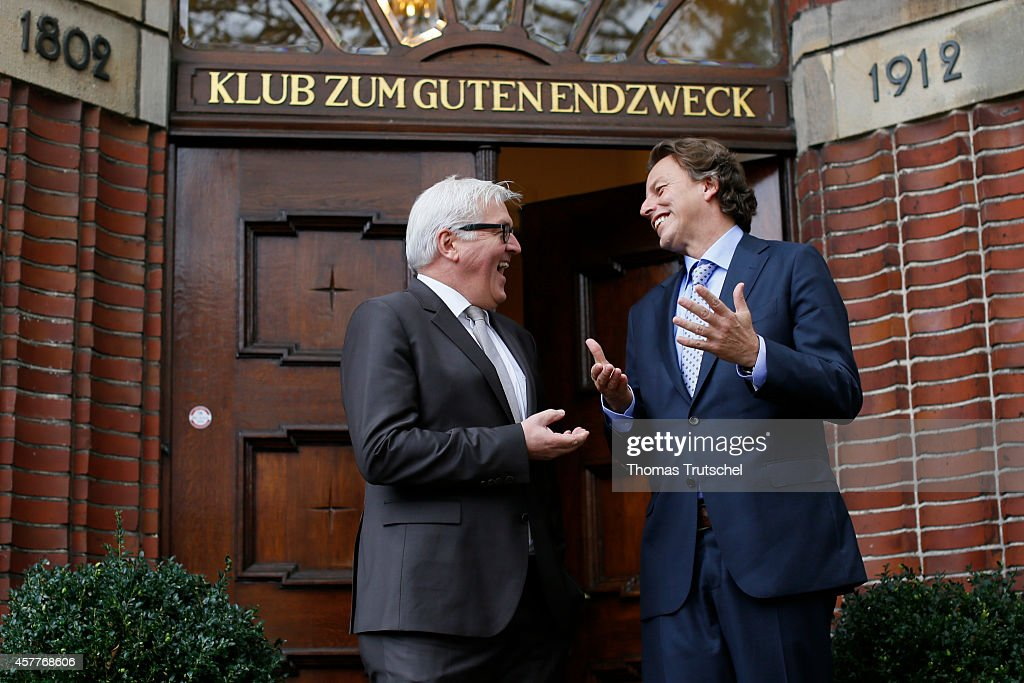 German Foreign Minister <a gi-track='captionPersonalityLinkClicked' href=/galleries/search?phrase=Frank-Walter+Steinmeier&family=editorial&specificpeople=603500 ng-click='$event.stopPropagation()'>Frank-Walter Steinmeier</a> (L) meets with Netherlands' Foreign Minister <a gi-track='captionPersonalityLinkClicked' href=/galleries/search?phrase=Bert+Koenders&family=editorial&specificpeople=2358914 ng-click='$event.stopPropagation()'>Bert Koenders</a> on October 24, 2014 in Emden, Germany.