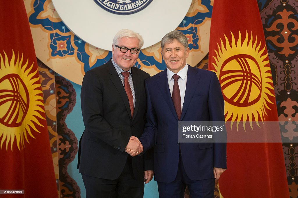 German Foreign Minister <a gi-track='captionPersonalityLinkClicked' href=/galleries/search?phrase=Frank-Walter+Steinmeier&family=editorial&specificpeople=603500 ng-click='$event.stopPropagation()'>Frank-Walter Steinmeier</a> (R) meets with President of Kyrgyzstan <a gi-track='captionPersonalityLinkClicked' href=/galleries/search?phrase=Almazbek+Atambayev&family=editorial&specificpeople=4229890 ng-click='$event.stopPropagation()'>Almazbek Atambayev</a> on March 31, 2016 in Tashkent, Uzbekistan. <a gi-track='captionPersonalityLinkClicked' href=/galleries/search?phrase=Frank-Walter+Steinmeier&family=editorial&specificpeople=603500 ng-click='$event.stopPropagation()'>Frank-Walter Steinmeier</a> visits in three days Uzbekistan, Kyrgyzstan and Tajikistan for political conversations.